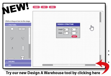 Shelving concepts try our new design a warehouse tool for Warehouse layout design software